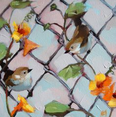 House Wrens original bird and flower oil painting by Moulton prattcreekart