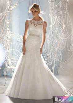 In LOVE with this!!    Beaded Tulle and Lace Wedding Dress - Wedding Dresses - Wedding & Events
