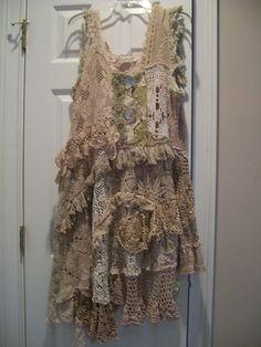 Authentic Magnolia Pearl Antique Crochet Dress Fig Color