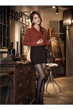 韓国風的 長袖 熱い販売 シフォン ルーズ (10438541)