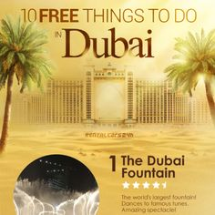 Dubai will delight you with astonishing places for excellent recreation and entertainment, many with free admission... Tips for Dubai holidays, travel tips.