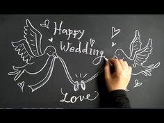 結婚式のフォトブースにも活用できる黒板を使ったチョークアート(chalkart blackboard chalkboard: wedding)