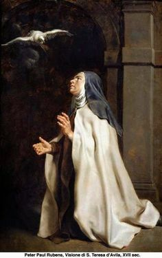 Teresa of Avila's Vision of the Dove by Peter Paul Rubens The Fitzwilliam Museum Date painted: Peter Paul Rubens, Catholic Art, Catholic Saints, Religious Art, Roman Catholic, Religious Pictures, Saint Teresa Of Avila, St Ignatius, Mother Teresa