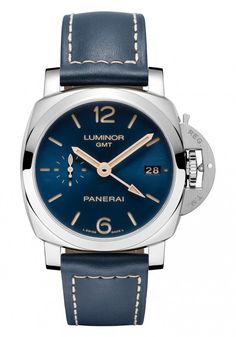 Panerai Luminor 1950 3 Days GMT Automatic Acciaio features a blue dial and matching blue leather strap, with contrast ecru-colored stitching and is powered by the in-house Panerai movement, the automatic Caliber P.9001.
