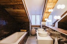 Unique Bathroom Design With Wood Ceiling In Home Attic beautiful apartment design textures and patterns interior decorating Apartment