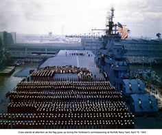The USS YORKTOWN CV10 crew at attention during the ship's commissioning in 1943.