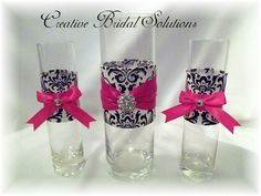 pink and black wedding ideas | Black and White Madison Damask Wedding Unity Sand Ceremony Set ...