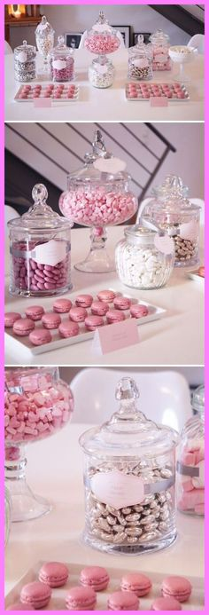 Candy Bar Inspo for the Pink Wedding .- Candy Bar Inspo für die Pink Wedding Candy Bar Inspo for the Pink Wedding - Lolly Buffet, Dessert Buffet, Dessert Bars, Dessert Tables, Candy Buffet Jars, Lolly Jars, Food Buffet, Buffet Ideas, Cake Table