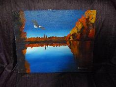 bald eagle over fall autumn lake trees   acrylic on canvas