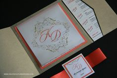 Vintage Wedding Pocket Invitation in Gold and Coral