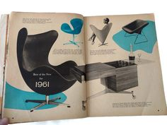 Today's Home Decorating Guide 1961 Interior Design Magazine Arne Jacobsen Black Egg Chair DUX Verner Panton Cone Chair Kagan Bar Cart by CollectionSelection on Etsy