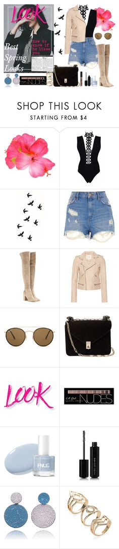 """Look"" by demi-demetria-lovato ❤ liked on Polyvore featuring River Island, Gianvito Rossi, Maje, Ray-Ban, Valentino, NYX, Charlotte Russe and Marc Jacobs"
