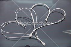 decoración de la boda de auto - dos corazones — Imagen de stock #25466257 Wedding Car Decorations, Birthday Decorations, Two Hearts, Stock Photos, Cushions, Weddings, Wedding Stuff, Mariage, Autos