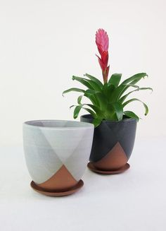 """Double dipped planters in stoneware either a white or black glaze Comes with tray Arox 5"""" x 5.5"""" Handmade in Portland"""