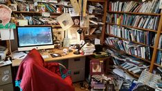 A new series to kick off in which we ask Wales' top writers to share a glimpse of their work space. In this first instalment, Man Booker-nominated and two-time … Workspace Design, Office Workspace, Ikea Office Organization, Best Frind, English Living Rooms, Men's Home Offices, Messy Room, Unusual Homes, Secret Rooms