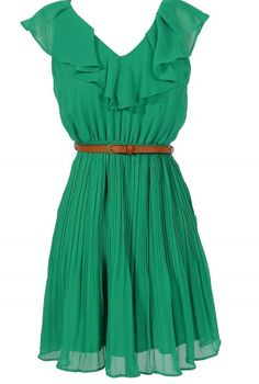 Katrina Ruffle Contrast Belted Dress in Jade Green