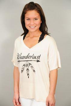 TOPS > Tees > 'Wanderlust' V-Neck Graphic Tee