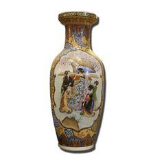 Jarrón chino multicolor antiguo pintado a mano con figuras en bonitos colores, con oro.