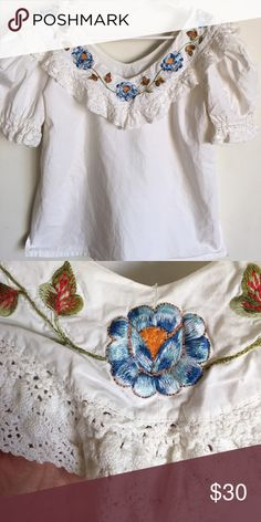 Blouse Size L. Beautiful handmade top. Vintage. *cleaned before being sent*smoke free home* Vintage Tops Blouses