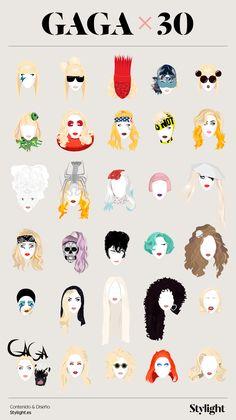 Evolution of Lady Gaga's 30 Iconic Looks Evolution of Lady Gaga's 30 Iconic Looks<br> To celebrate the birthday of Lady Gaga, Stylight had the great idea to recreate an infographic series of the 30 most iconic looks of the diva. From the mea Lady Gaga Artpop, Lady Gaga Birthday, Happy Birthday Woman, 30th Birthday, Images Lady Gaga, Lady Gaga Pictures, Rick Genest, Tatuagem Lady Gaga, Illustrations