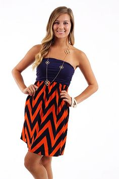 Pump It Up Dress, orange/purple $44 www.themintjulepboutique.com