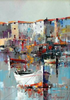 Branko Dimitrijevic, Boat, Oil on canvas, seaside painting Landscape Art, Landscape Paintings, Landscapes, Boat Art, Boat Painting, Acrylic Art, Painting Techniques, Art Oil, Watercolor Paintings