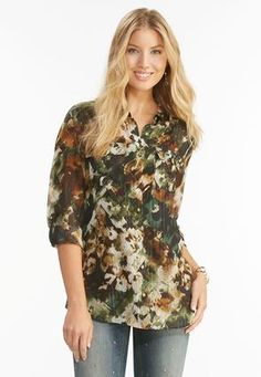 Cato Fashions Camouflage Button Down Shirt-Plus #CatoFashions