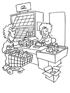 Kleurplaat Kassa - supermarkt - Kleurplaten.nl Colouring Pages, Coloring Sheets, Adult Coloring, Community Workers, Community Helpers, Diorama Kids, Fun Math Activities, Early Education, Nursery Rhymes