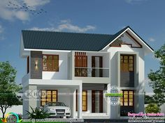 Sloping roof modern home by Dream Form 2 Storey House Design, House Gate Design, Duplex House Design, Kerala House Design, House Front Design, Model House Plan, My House Plans, Small House Plans, Indonesian House