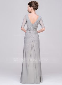 A-Line/Princess V-neck Floor-Length Chiffon Mother of the Bride Dress With Ruffle Beading Appliques Lace Sequins (008058430) - JJsHouse
