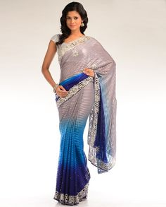 shaded blue sari with embellished floral border