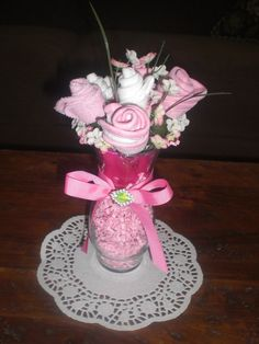 Baby Shower Center Piece-Washcloth Bouquet