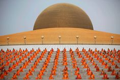 Buddhists monks attend a ceremony during Vesak Day at Wat Dharmmakaya in Pathum Thani province, on the outskirts of Bangkok, Thailand