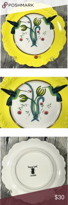 "Nature Table Lou Rota Humming Bird Dessert Plate Nature Table by Lou Rota Anthropologie 9.5"" Humming Bird Dessert Plate Yellow. Pre owned in excellent condition. Nature Table by Lou Rota Accessories"