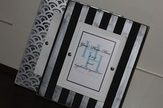 Striped wood frame in black and silver distressed by Higgi House