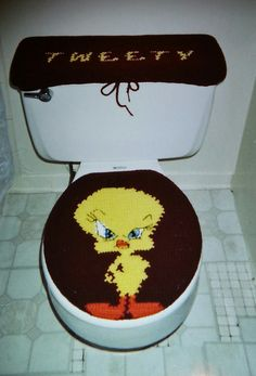 CROCHET FOR HOME - TITI - Crochet Tweety Tank Top Cover and Toilet Seat Cover by Marcelle Powell