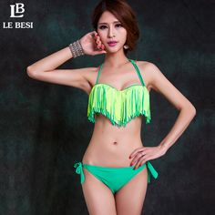 LE BESI 2016 New Tassel Bikini Plus Size Trikini Women Bikini set Swimwear Push Up Underwire Push Up Swimsuit Lady Bathing suit