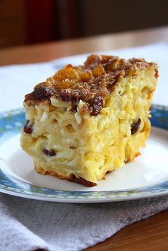 I was very intrigued when I discovered Noodle Kugel. This was something totally new to me, but I was sure it& something really delici. Kosher Recipes, Cooking Recipes, Crockpot Recipes, Sweet Noodle Kugel Recipe, Flan, Donuts, Pumpkin Spiced Latte Recipe, Panna Cotta, Mousse