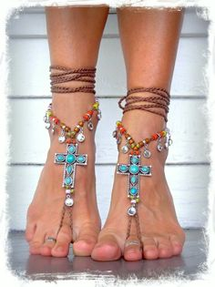 Turquoise CROSS BAREFOOT Sandals FESTIVAL sandals Cowgirl Anklets Sandals Statement shoes sole less shoes crochet foot jewelry Rhinestones