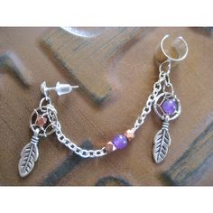 Dream Catcher Ear Cuff Chain- Amethyst Copper Dreamcatcher Feather... ($15) ❤ liked on Polyvore featuring jewelry, earrings, purple amethyst earrings, ear cuff, cuff earrings, beaded earrings and purple earrings