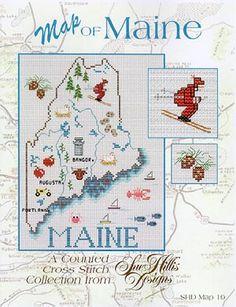 Maine Map - Cross stitch Pattern