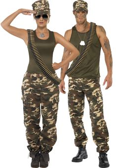 Those who fight together stay together right? Shop our army couple costume pictured here in our online store! http://www.heavencostumes.com.au/khaki-camo-womens-sexy-army-costume.html http://www.heavencostumes.com.au/khaki-camo-men-s-army-costume.html