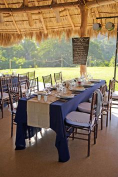 burlap runner / navy tablecloth....add lace to the edges of the burlap