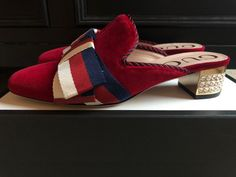 """d8f53225dfcb 100% authentic gucci iconic """"red velvet"""" slides mules multi slippers 7   37"""