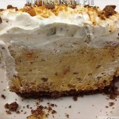 Butterfinger Pie – Food Recipes *For my son, since Butterfinger is his favorite candy bar Pie Recipes, Baking Recipes, Dessert Recipes, Dessert Ideas, Yummy Recipes, Chicken Recipes, Punch Recipes, Cheesecake Recipes, Gastronomia