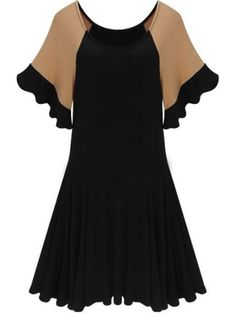 Stylish Cape Sleeve Round Neck  Assorted Colors Skater-dresses Skater Dresses from fashionmia.com