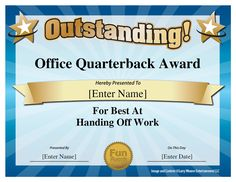 Office Quarterback Award