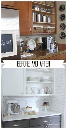 AMAZING kitchen transformation - two toned cabinets, planked walls and open shelving by The Inspired Room