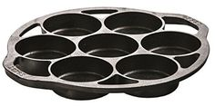 """Seasoned and ready to use drop biscuit pan with seven impressions 3 1/4"""" in diameter and 1"""" deep. Bake big, fluffy biscuits without a rolling pin. Just spoon your favorite mix into the wells to create perfectly shaped, mouth watering biscuits. Unique open frame design permits easy... - http://kitchen-dining.bestselleroutlet.net/product-review-for-lodge-l7b3-cast-iron-drop-biscuit-pan-pre-seasoned/"""