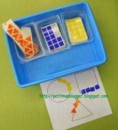 gommettes et formes géométriques Preschool Centers, Preschool Kindergarten, Teaching Math, Math Centers, Montessori Math, Montessori Toddler, Teacch Material, Eureka Math, Shape Crafts